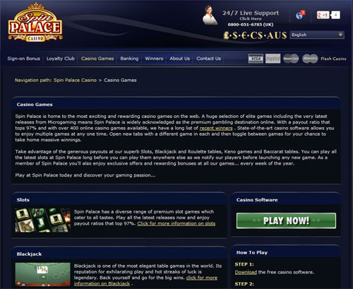 spin out table spin palace casino over 400 games with a 97 pay out